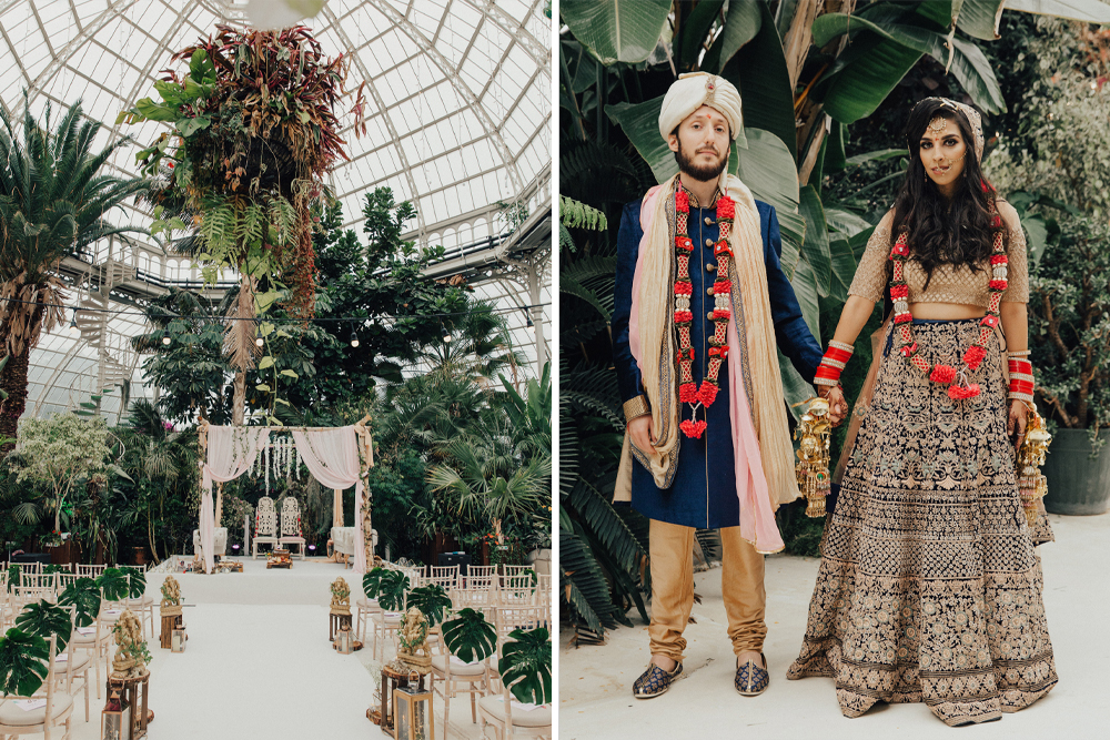 Hindu Wedding at Sefton Park Palm House with Bride & Bridesmaids in Sarees, Plus Botanical Plants & Bright Decor by The Wild Bride Photography