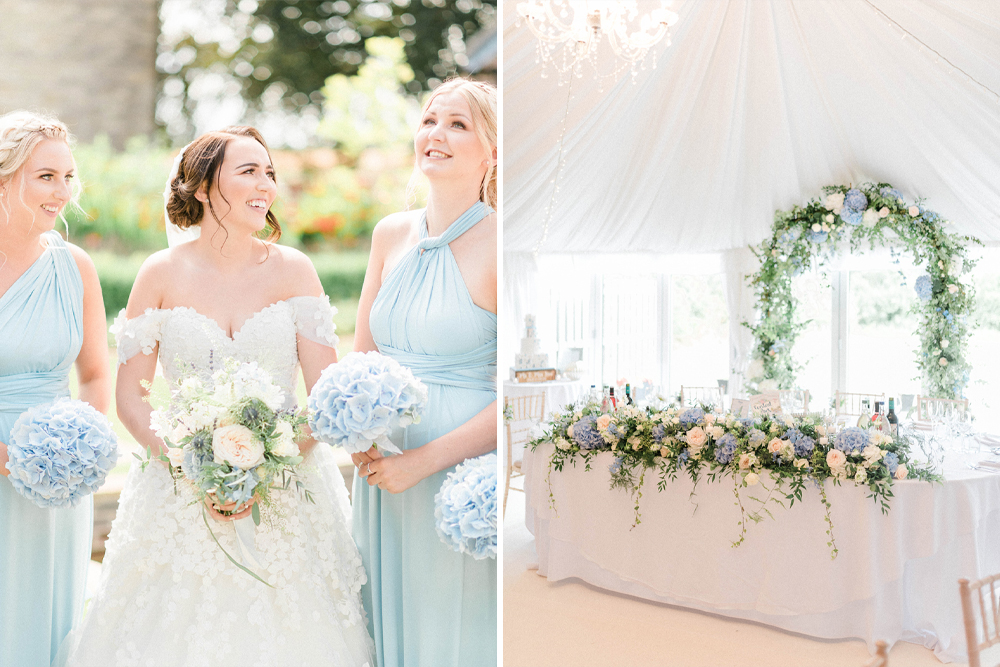 Blue & White Hydrangea Wedding Bouquet and Flowers for a Rustic Barn Wedding at The Priory Barns and Cottages by Sarah-Jane Ethan Photography
