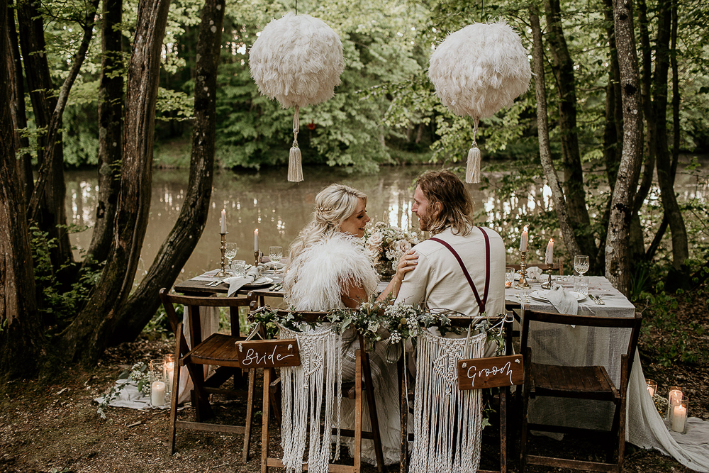 Eco Friendly Wedding Inspiration at Wickerwood Farm with Woodland Boho Luxe Theme with Pampas Grass, Macrame, and Smoke Bombs by Elena Popa Photography
