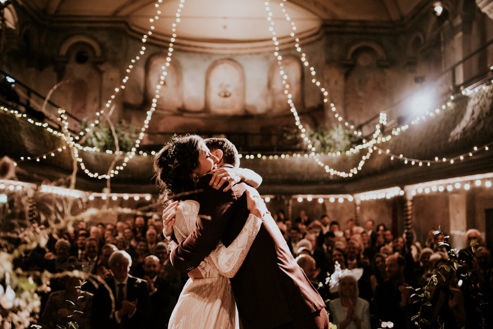 Wilton's Music Hall Wedding with Fairy Lights, Waitrose Naked Cake and Bride in Grace Loves Lace Wedding Dress by Shutter Go Click Photography