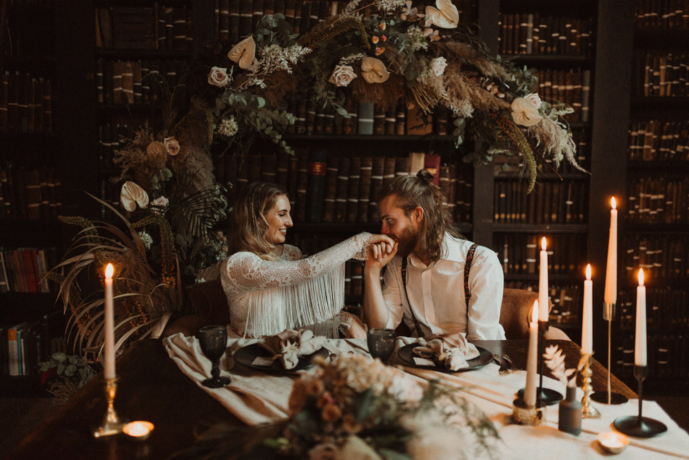 Elopement Wedding in Manchester at Portico Library with Dried Flower Floral Arch and Sweetheart Table with Black Tableware by Jess McGhie Photography