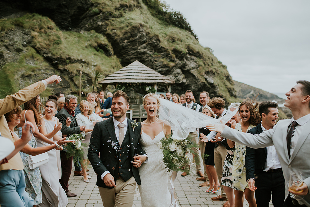 Windy Tunnels Beaches Wedding in Devon with Willowby by Watters Wedding Dress and Dessy Bridesmaid Dresses by Hayley Savage Photography