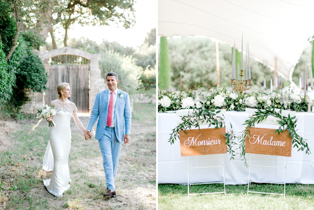 Bride in Beaded Marchesa Wedding Dress for a Grey & Green Marquee Wedding in Provence With Acrylic Signs by Helen Cawte Photography
