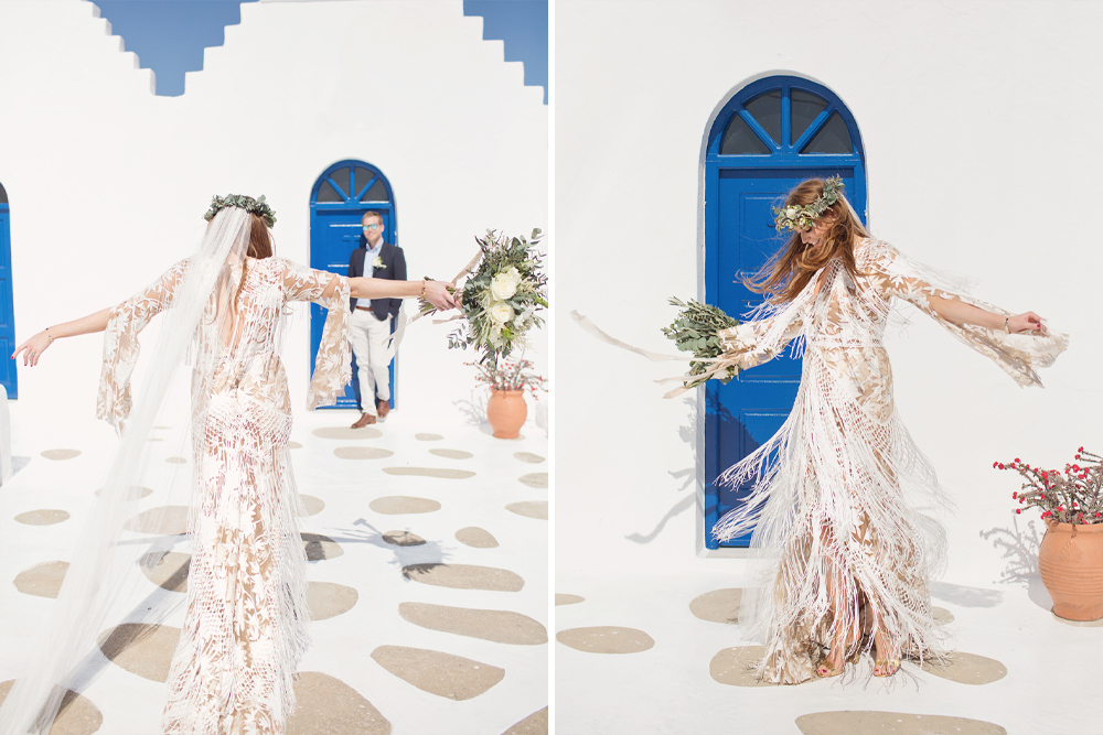 Mykonos Wedding with Bride in Boho Rue De Seine Dakota Wedding Dress with Fringe Detail and Maids to Measure Bridesmaid Dresses by Cotton Candy Weddings