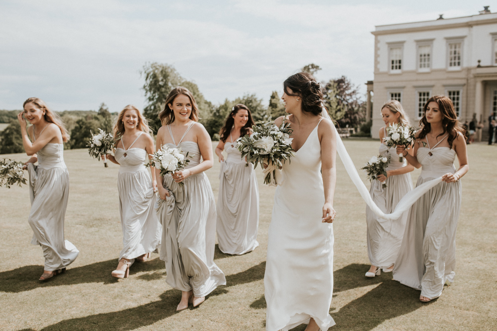 Grace Loves Lace Slip Wedding Dress for a Stylish White, Greenery & Gold Wedding at Buxted Park Hotel by Nataly J Weddings