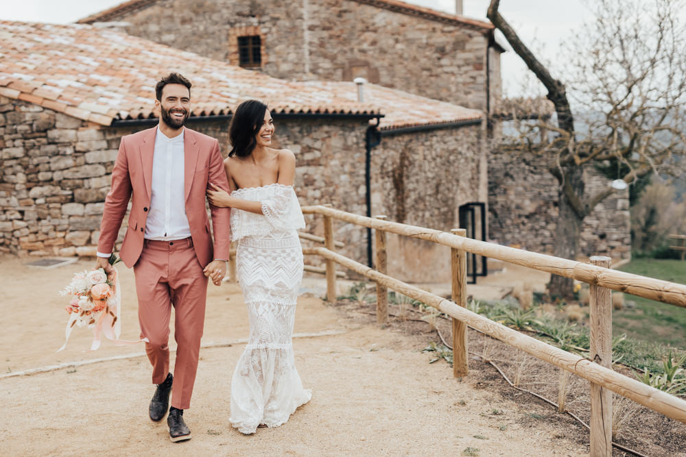 Pantone Living Coral Wedding Inspiration in Barcelona With Grace Loves Lace Bardot Dress and Modern Rustic Elements by Rebecca Carpenter Photography