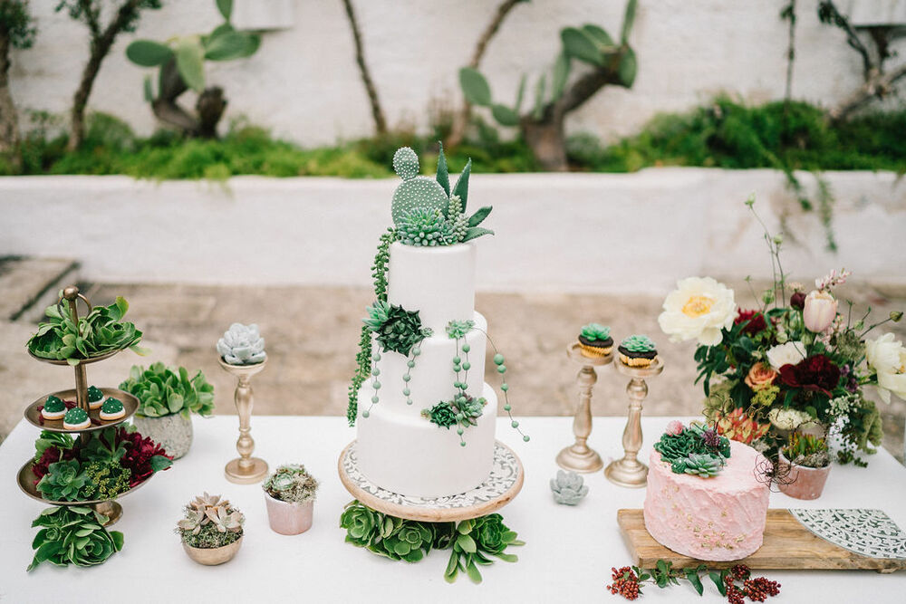 Succulent Wedding Cake and Plant Decor for a Timeless Wedding in Puglia, Italy Styled by Moments Lab and Photographed by Matteo Lomonte Photography
