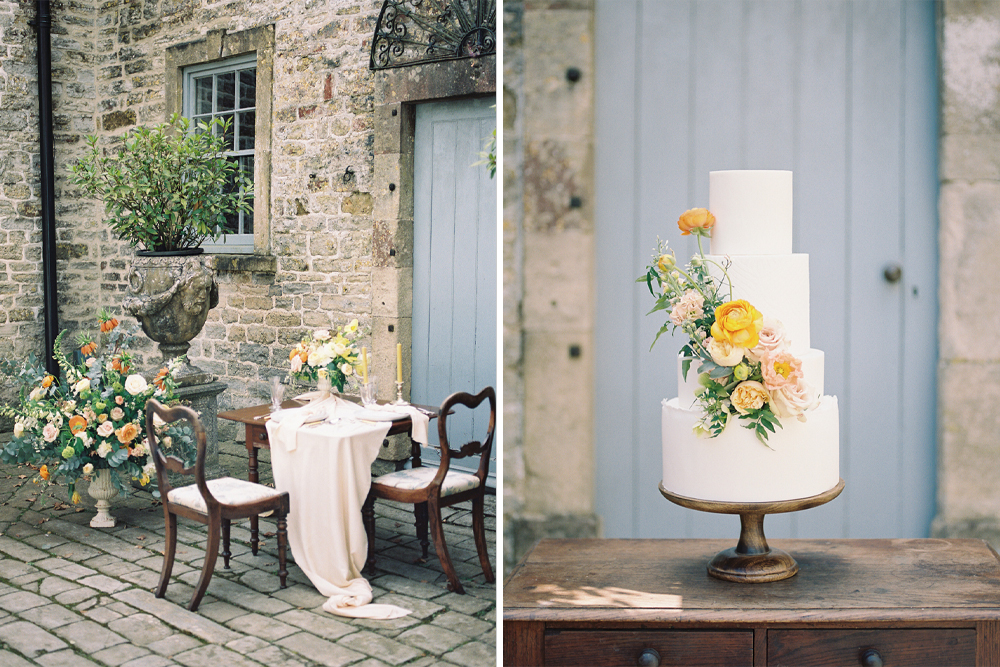 Pennard House Country Manor Wedding Venue Inspiration with Yellow and Gold Colour Scheme by Emma Joy the Wedding Planner & Liz Baker Photography