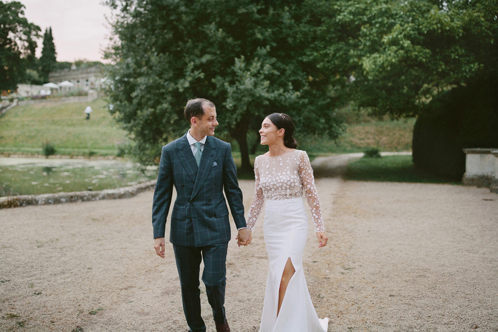 Rime Arodaky Long Sleeve Wedding Dress for an English Country Wedding at Cowley Manor in Cheltenham by David Jenkins Photography