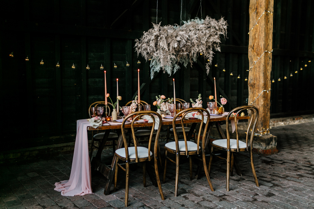 Blush Pink Wedding Inspiration at Elmley Nature Reserve with Floral 70s Bohemian Theme by Emma Epic Love Story Photography