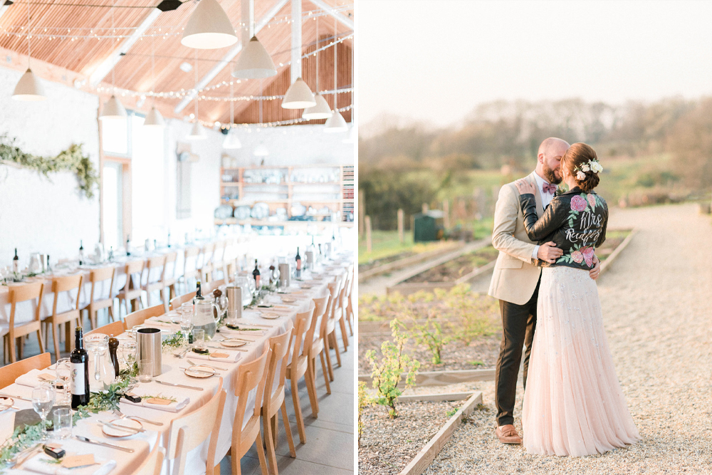 Ombre Wedding Dress and Hand Painted Leather Jacket for a Rustic Wedding in Dorset with Welly Throwing by Sarah-Jane Ethan Photography
