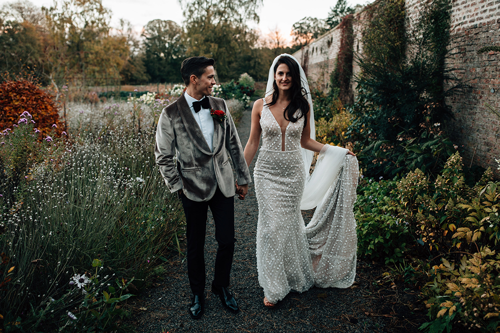 Red and Gold Autumn Wedding at Middleton Lodge with Velvet Dinner Jacket and Embellished Crystal Design Wedding Dress by Abbie Sizer Photography