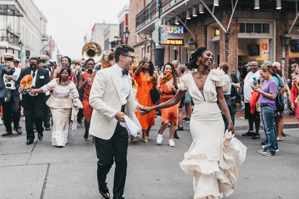 Secondhand Wedding Dress and Vintage Tuxedo Jacket for a Fun New Orleans Wedding with Brass Band Street Procession by Nancy Ebert Photography