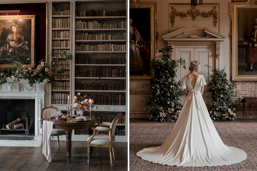 Elegant Twelve Days of Christmas Wedding Ideas at St Giles House with Romantic Dresses and Wedding Flowers by Sope Rowe & Eleanor Jane Photography
