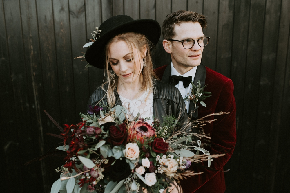 Bridal Hat, Leather Jacket and High Street Wedding Dress for a Winter Wedding with Style at The Elm Barn in Hereford by Tub of Jelly Photography & Film
