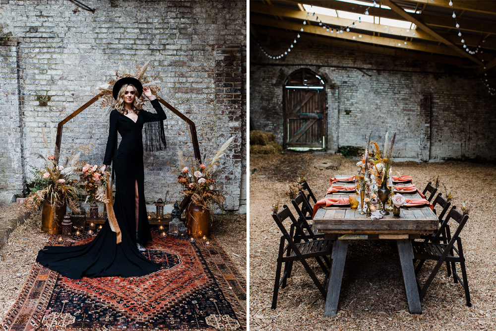 Autumn Wedding Ideas at Patrick's Barn Styled by Events by Design with Black Wedding Dress, Drip Cake & Pastry Table by Annamarie Stepney Photography