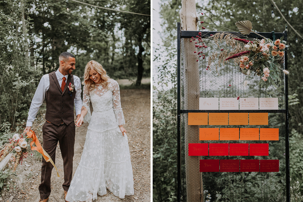 Boho Wedding Ideas with Warm Colours & Dried Flowers in a Woodland Setting at Wilderness Weddings Styled by Idyllic Days and Images by Westlake Photography