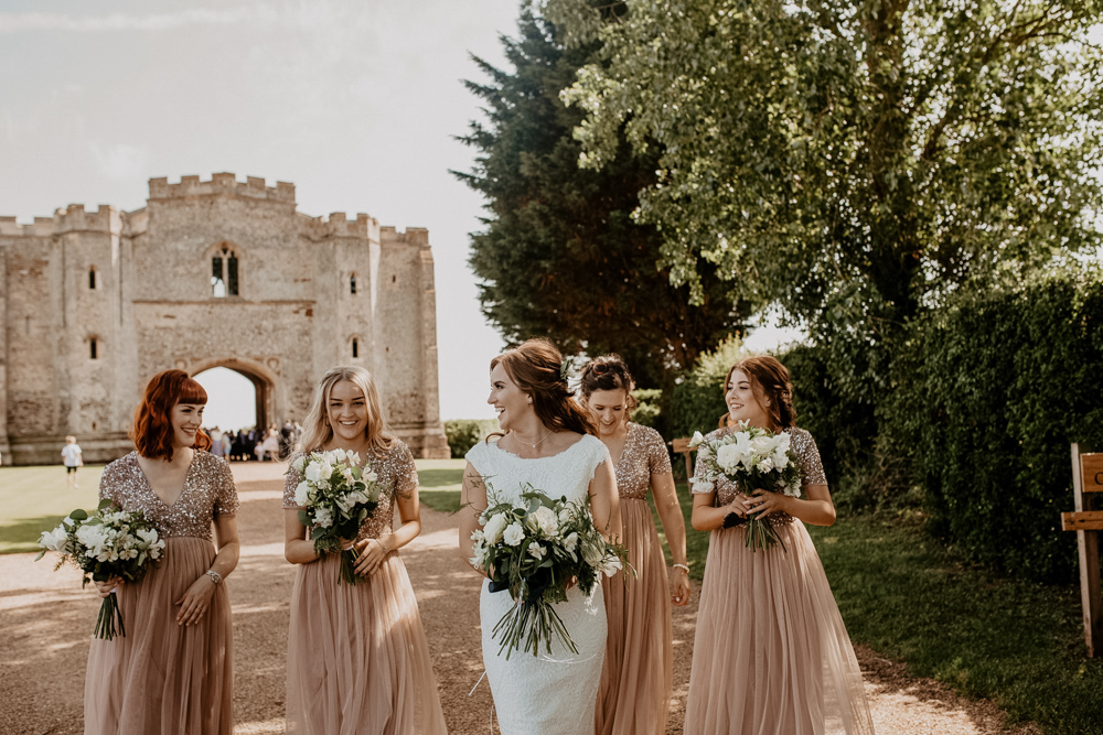 Tuscan Vibes at Pentney Abbey in Norfolk with Plant Pot Centrepieces and Rose Gold Bridesmaid Dresses by Camilla Andrea Photography