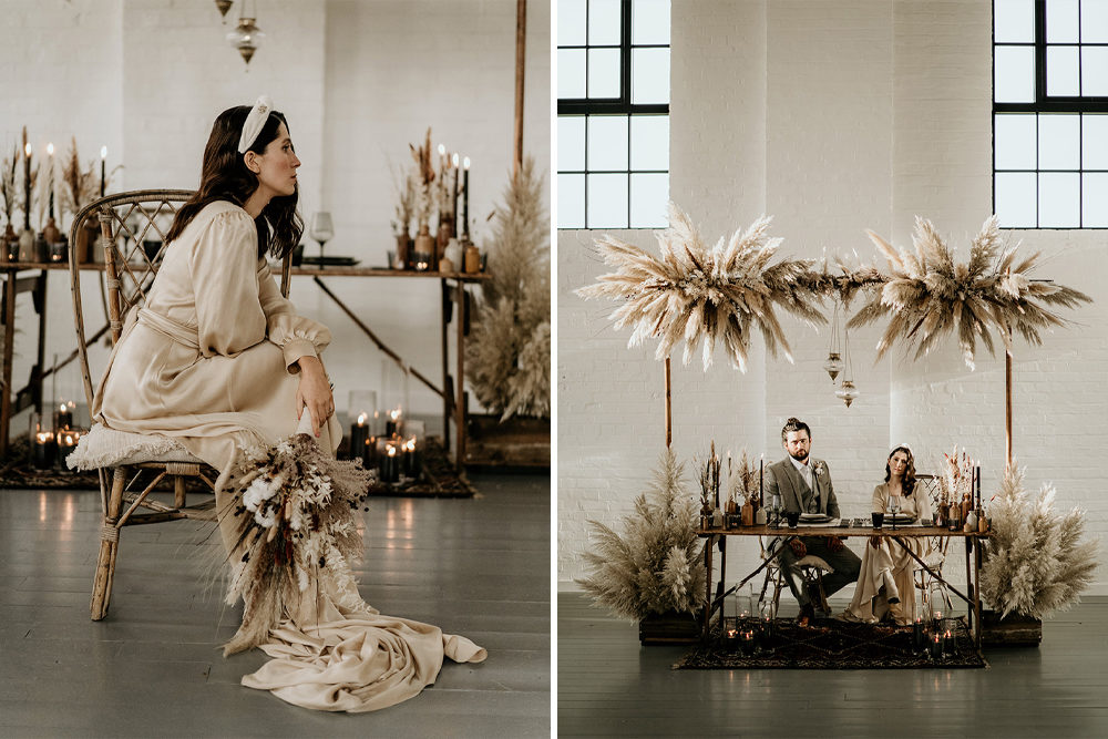 Industrial Boho Wedding Styling at The Winding House with Pampas Grass Installation by Wonderland Invites and Elena Popa Photography
