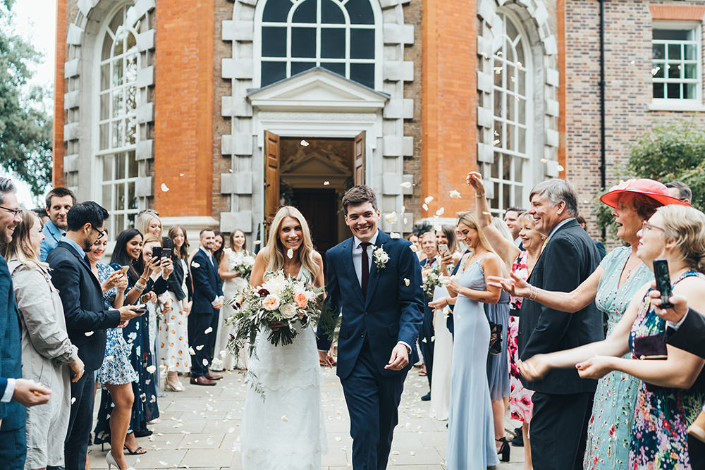 Garden Party at Orleans House Gallery & Bingham Riverhouse with Boat Trip, Charlie Brear Tiered Wedding Dress & Peach Roses by Miss Gen Photography