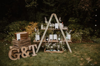Wedding Gin Bar and 1000 Paper Cranes for a Stylish Outdoor Wedding at Millbridge Court