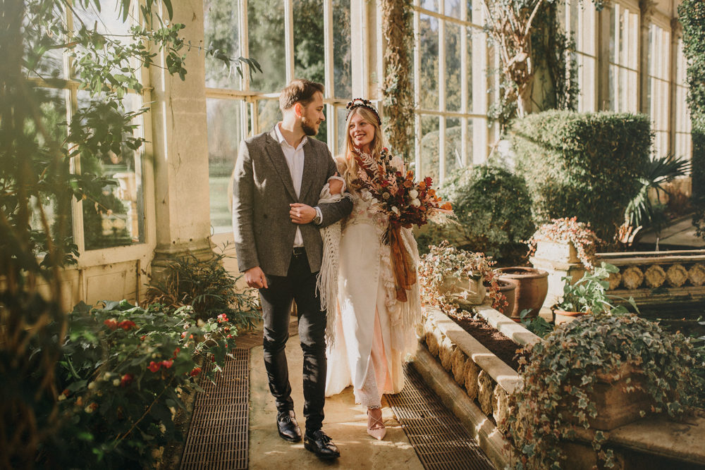Boho Elopement at Castle Ashby in Northamptonshire with Non-traditional Sara Lage Wedding Dress and Dried Flower Bouquet by Tipos Photography Services