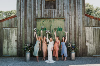Bespoke Lace Wedding Dress & Different Coloured Bridesmaid Dresses