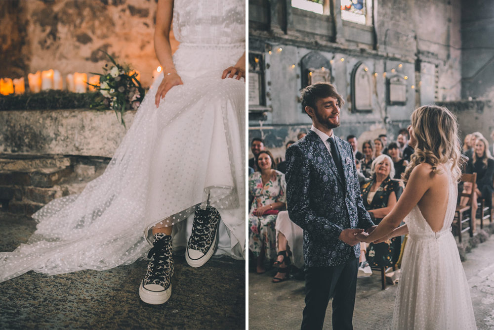 Asylum Chapel Ceremony, Polka Dot Halterneck Halfpenny London Wedding Dress & Leopard Print Bridal Trainers with Groom in Patterned Blazer by Story & Colour
