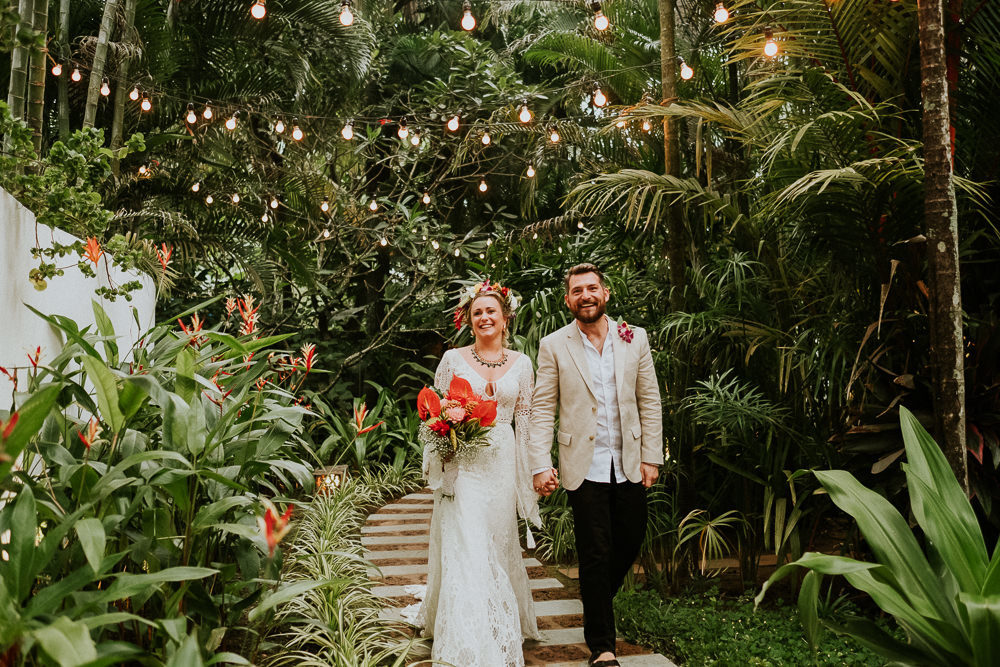 Four Day Tropical India Wedding at Coco Shambhala Villa, Goa, With Pool Party, Bright Flowers, Rish Bridal Dress & Flower Crown by Joanna Nicole Photography