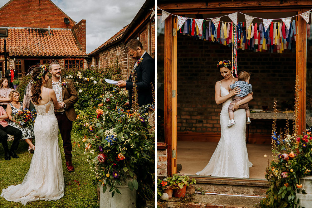 Colourful Home Wedding Under £5000 with Hand Fastening Ceremony, Homemade Cakes and DIY Bunting and Lace Sottero & Midgley Gown by M and G Photographic
