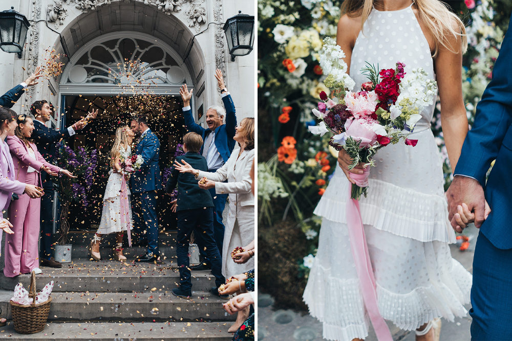 Intimate Town Hall Wedding London with Bride in Cute Tea Length Dress, Espadrilles & Homemade Bouquet & Meal At The River Cafe by Miss Gen