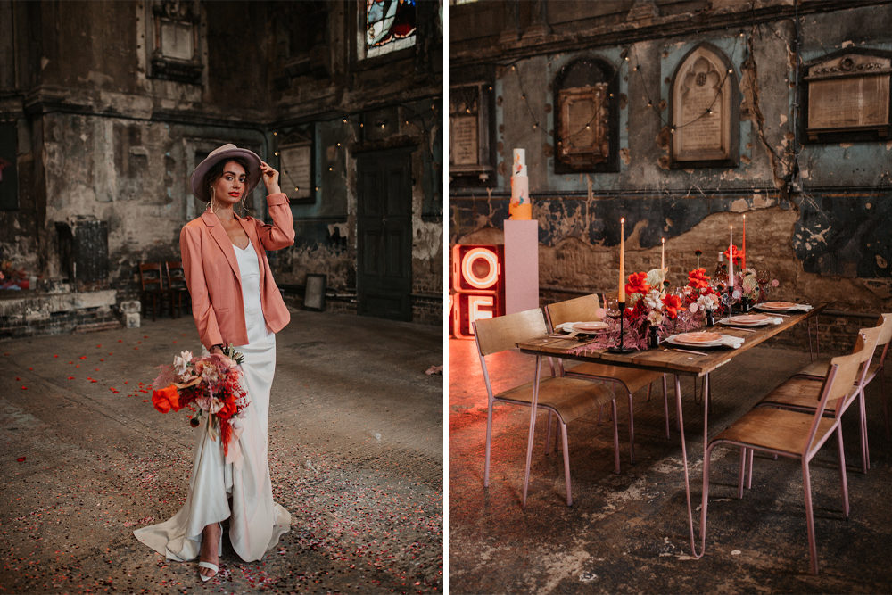 Pink Wedding Jacket and Minimlaist Wedding Dress for a Modern Inspiration Shoot at The Asylum Chapel with Neon Lights by Emily Rose Photography
