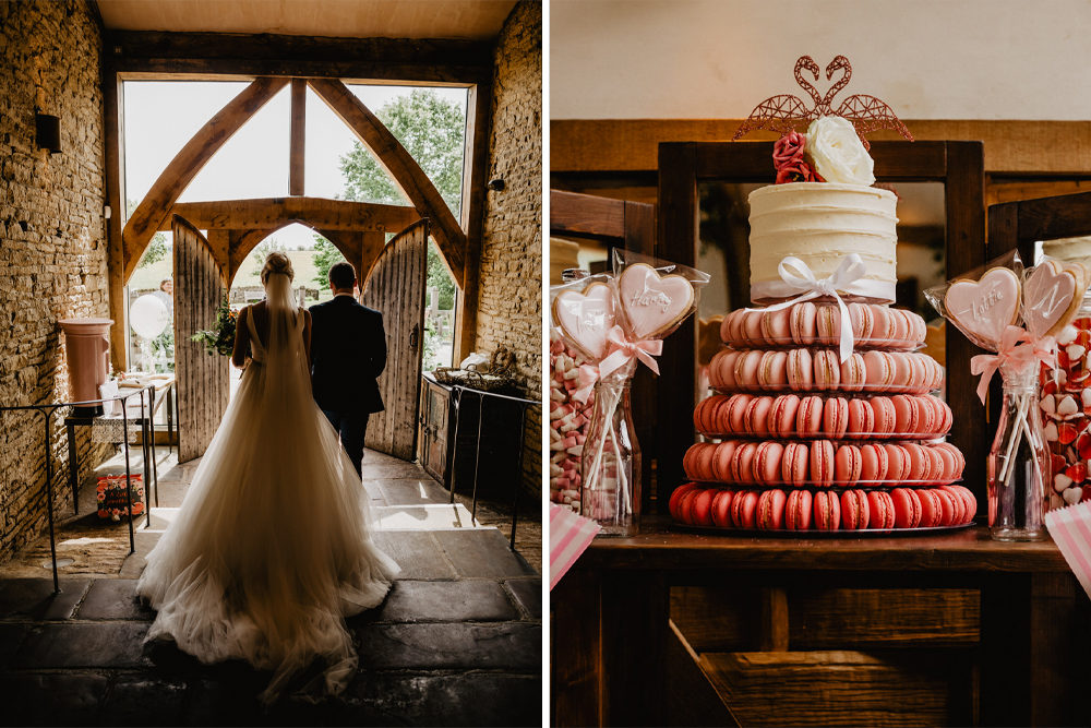Pink Macaron Tower Wedding Cake for a Country Wedding at Cripps Barn in the Cotswolds with Stella York Princess Bridal Gown by Benjamin Stuart Photography