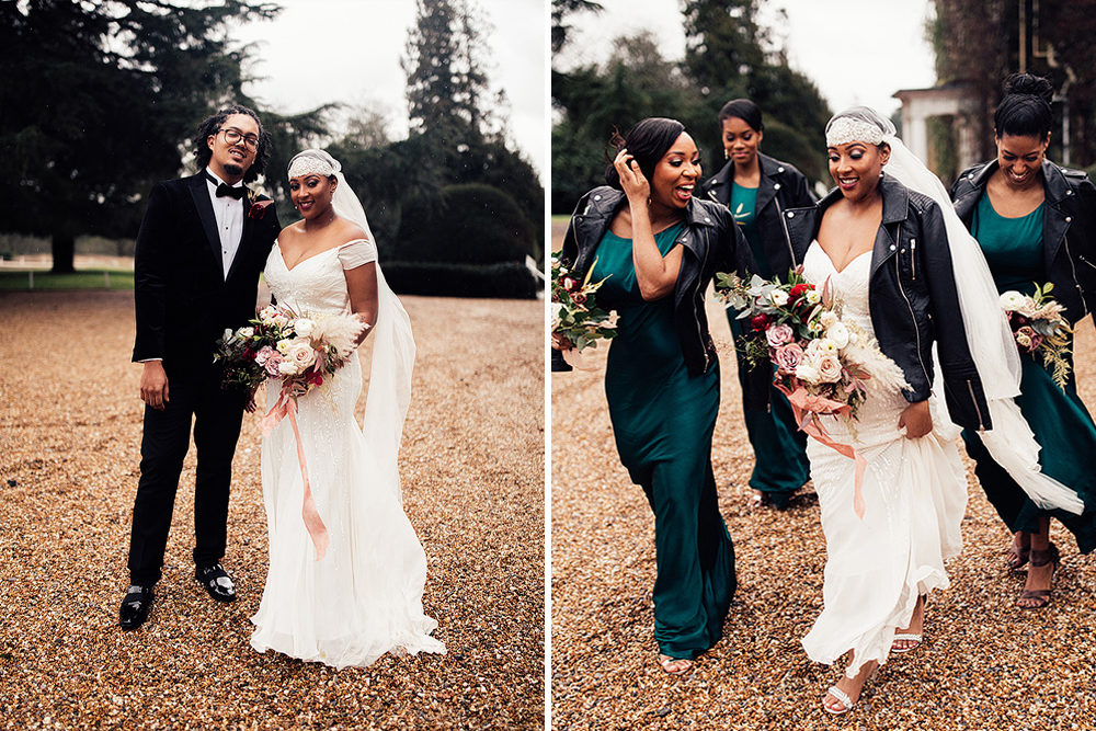 Black Tie Winter Wedding with Bride in a Juliet Cap Veil & Eliza Jane Howell Wedding Dress and Groom in Velvet Dinner Jacket by Harry Michael Photography