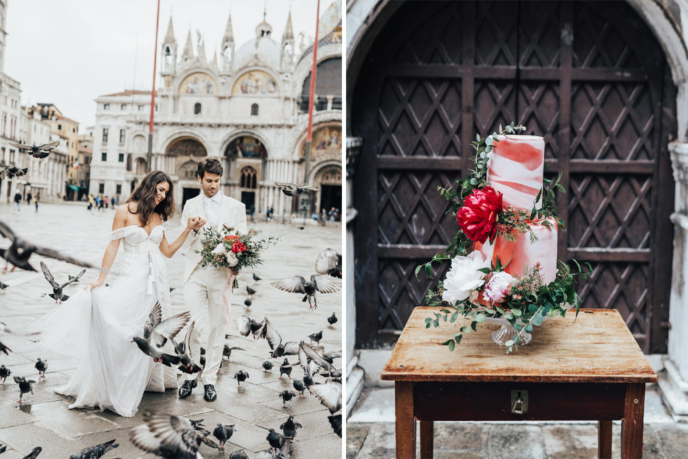 Intimate Venice Elopement with Blush Wedding Dress & Black Tie Suit and Romantic Red Wedding Flowers by Rebecca Carpenter Photography