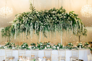 Green and White Red Floral Architecture Wedding Flowers at Iscoyd Park