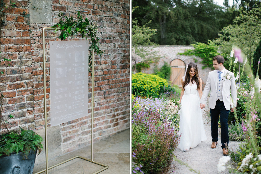 Frosted Acrylic Wedding Signs for a Summer Wedding at THe Fig House, Middleton Lodge with Catherine Deane Wedding Dress by Melissa Beattie Photography