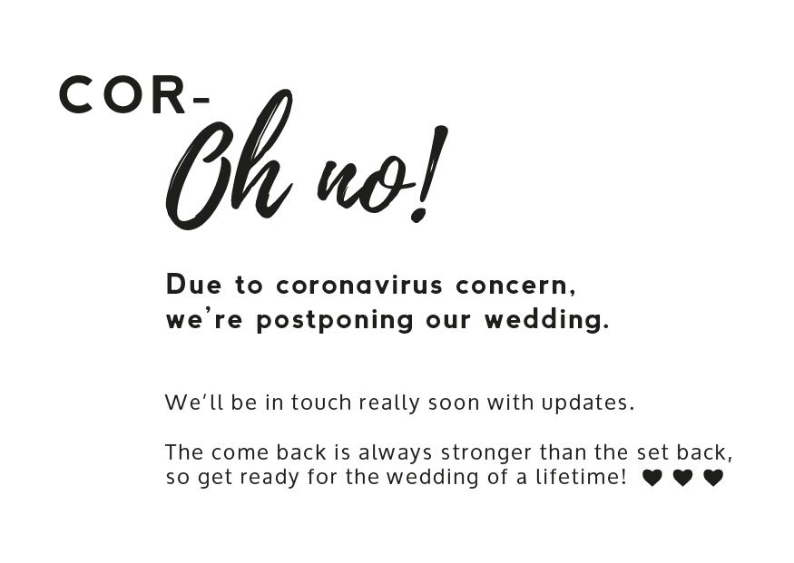 Wedding Postponement Announcement