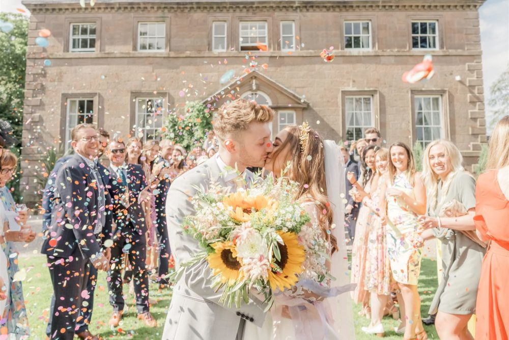 Charlton Hall Wedding with DIY Decor, Emma Beaumont Wedding Dress, Blue Hangisi Manolo Blahnik's & Marble Wedding Cake by Carn Patrick