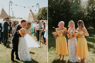 Canary Yellow Bridesmaid Dresses At Farm Wedding With PapaKata Tipi