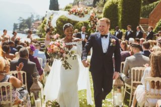 Lake Como Wedding with Bride in Justin Alexander Bridal Cape