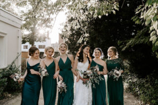 Emerald Green Bridesmaid Dresses for Wedding at Morden Hall in London