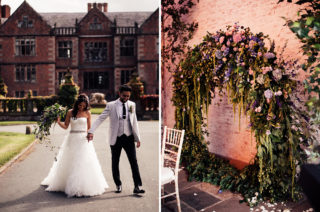 Dorfold Hall Wedding with Floral Moon Gate and Hoop Decor