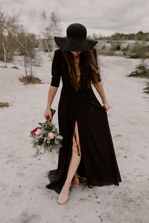 Black Wedding Dress For Wild Same Sex Couple Wedding Inspiration