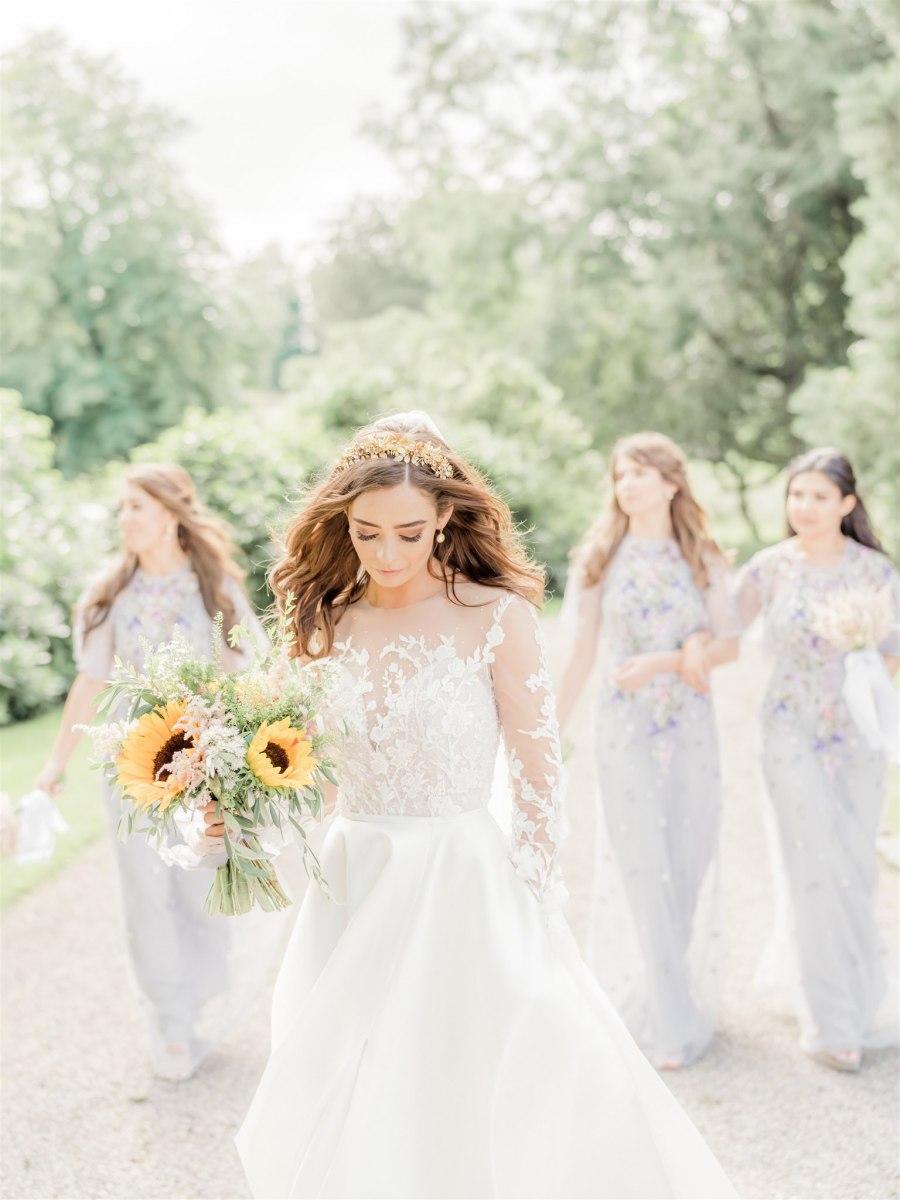 Marble Wedding Cake Diy Decor Sunflowers For Charlton Hall Wedding