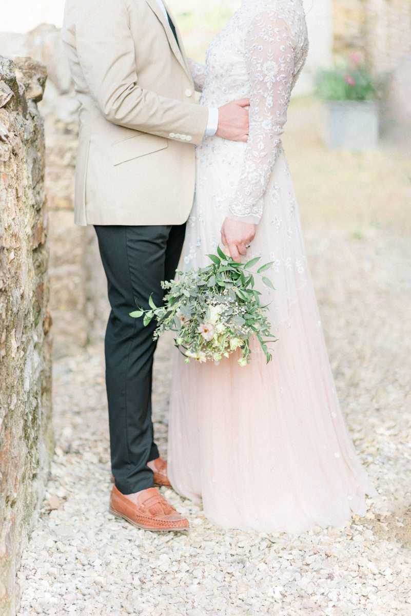 Ombre Wedding Dress And Hand Painted Leather Jacket For A Rustic
