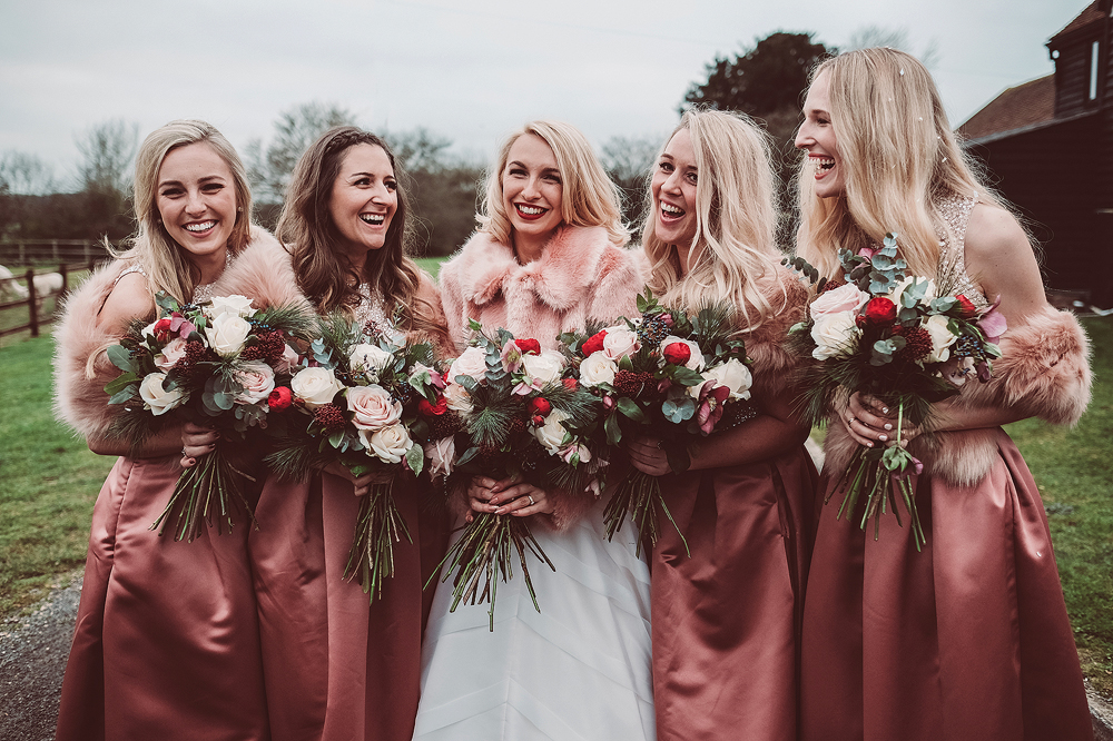 2f5234fcd2a Blush Pink Christmas Wedding with Customised Faux Fur Coverup