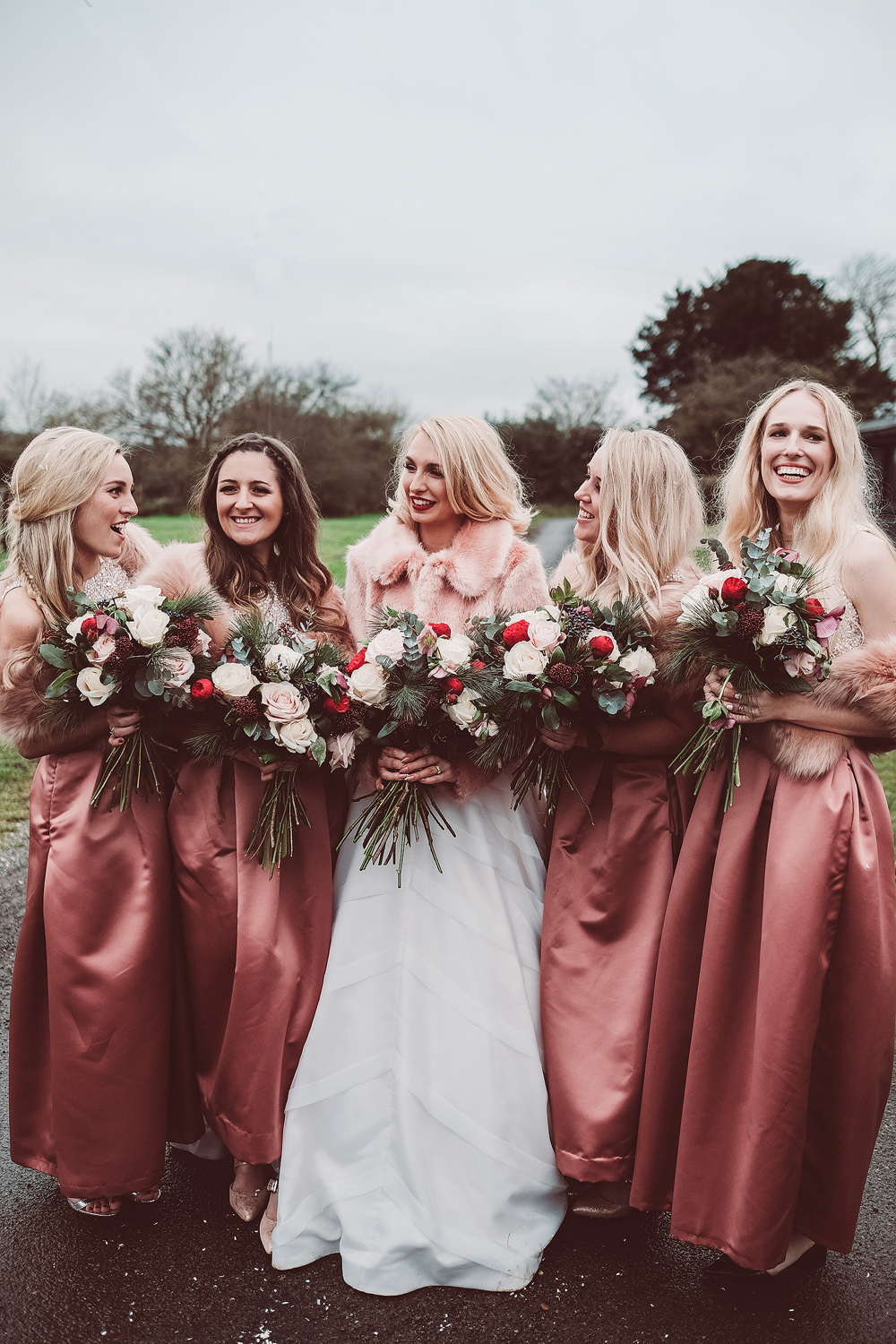 d9d1f715ff Bridal Party | Bride in Organza Justin Alexander Gown & Faux Fur Cover Up |  Bridesmaids