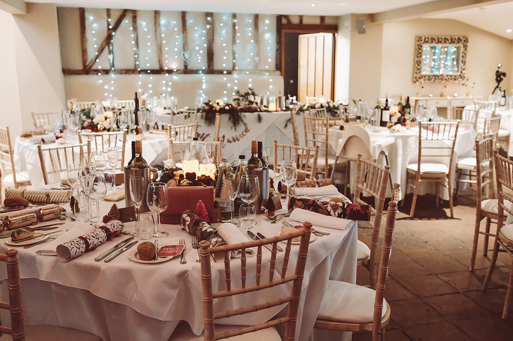 Blush Pink Christmas Wedding With Customised Faux Fur Coverup