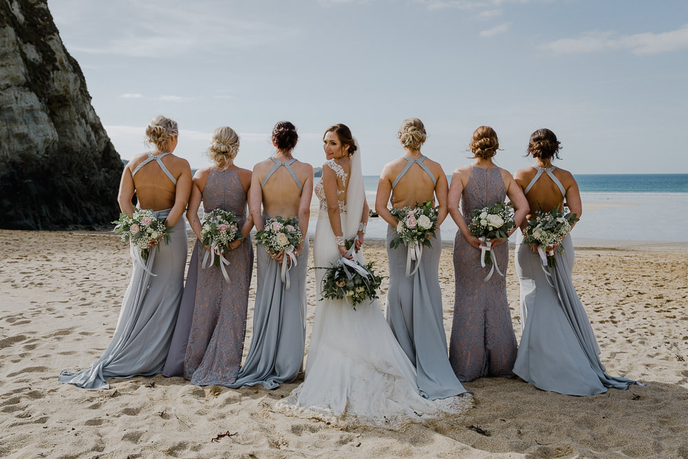 Lusty Glaze Beach Wedding In Newquay With Long Sleeve
